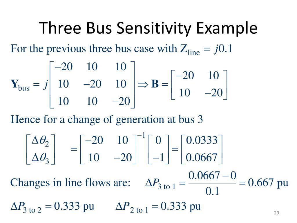 Three Bus Sensitivity Example