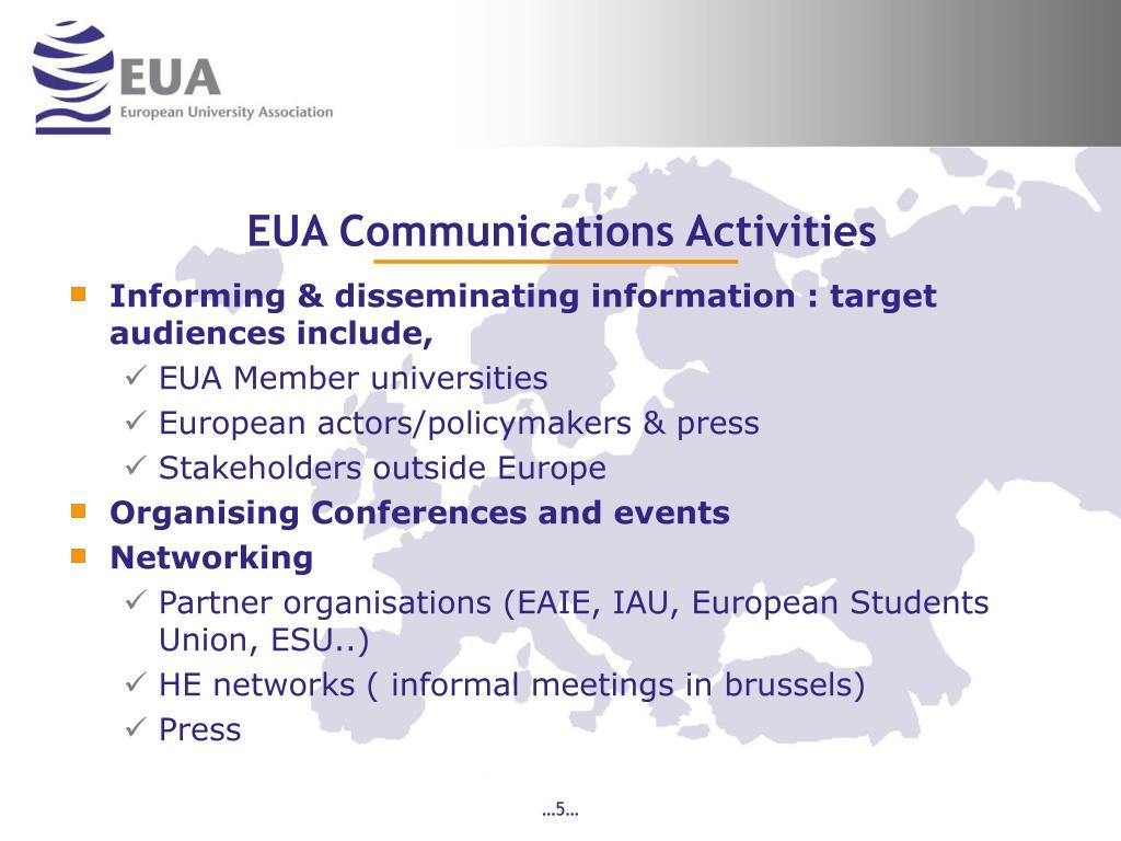 EUA Communications Activities