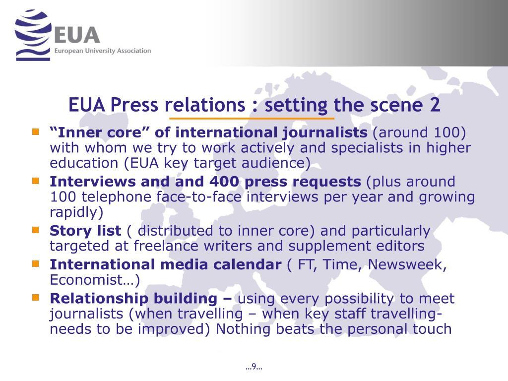 EUA Press relations : setting the scene 2