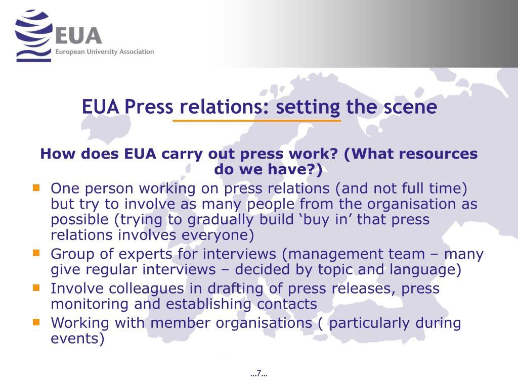 EUA Press relations: setting the scene