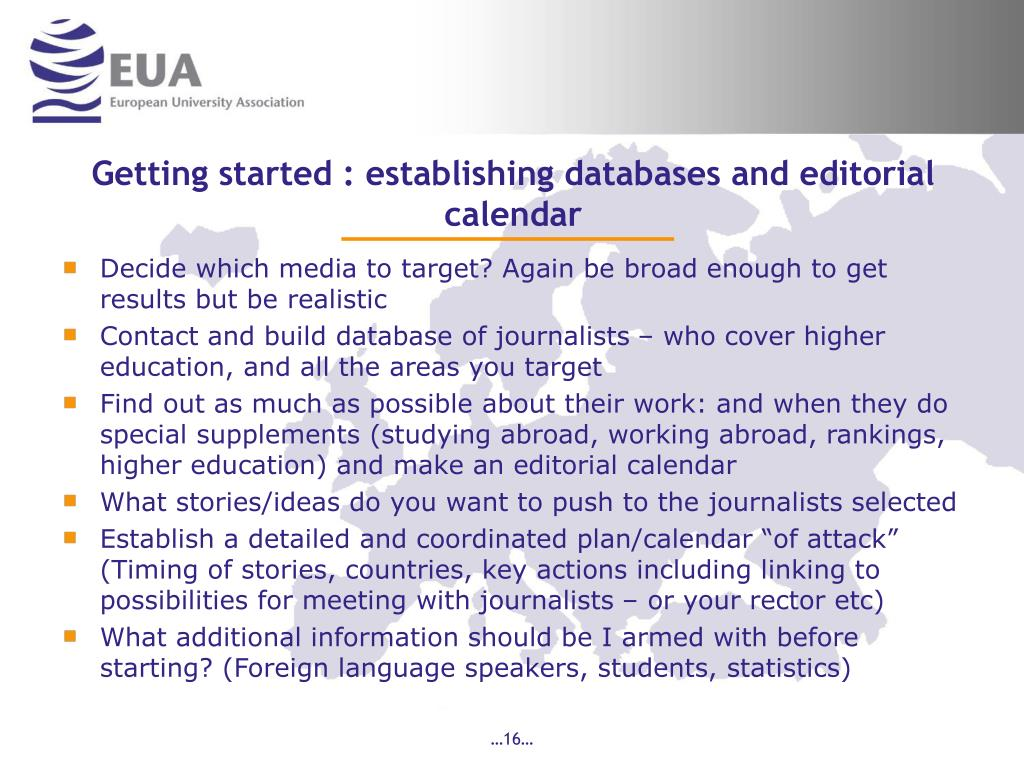 Getting started : establishing databases and editorial calendar