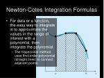 newton cotes integration formulas