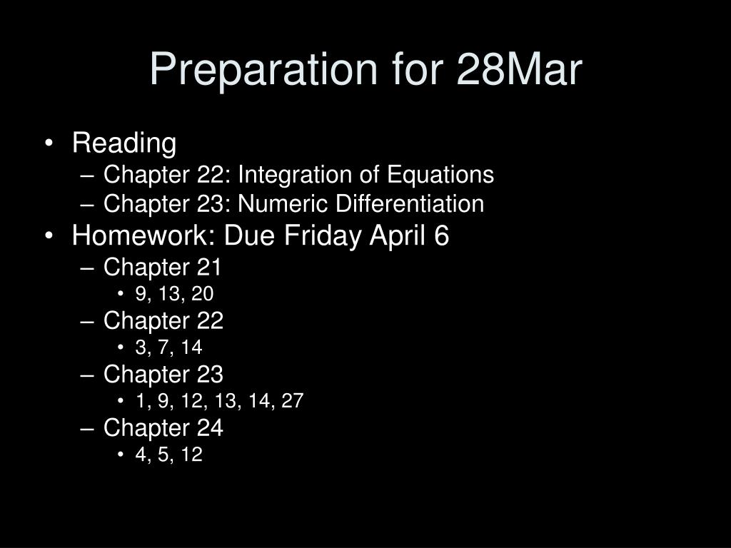 Preparation for 28Mar