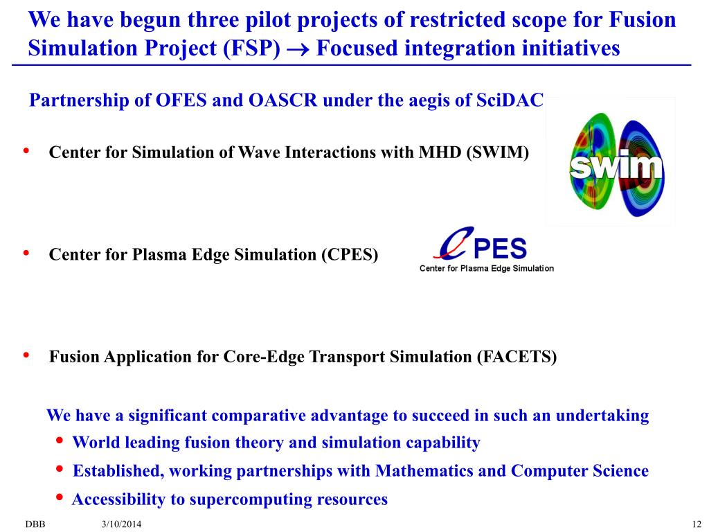 We have begun three pilot projects of restricted scope for Fusion Simulation Project (FSP)  Focused integration initiatives