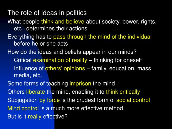 The role of ideas in politics