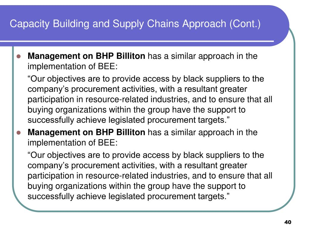 Capacity Building and Supply Chains Approach (Cont.)