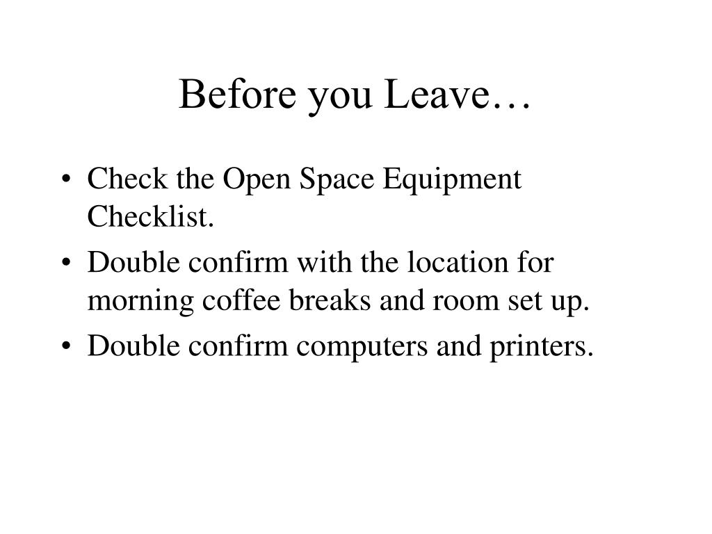 Before you Leave…