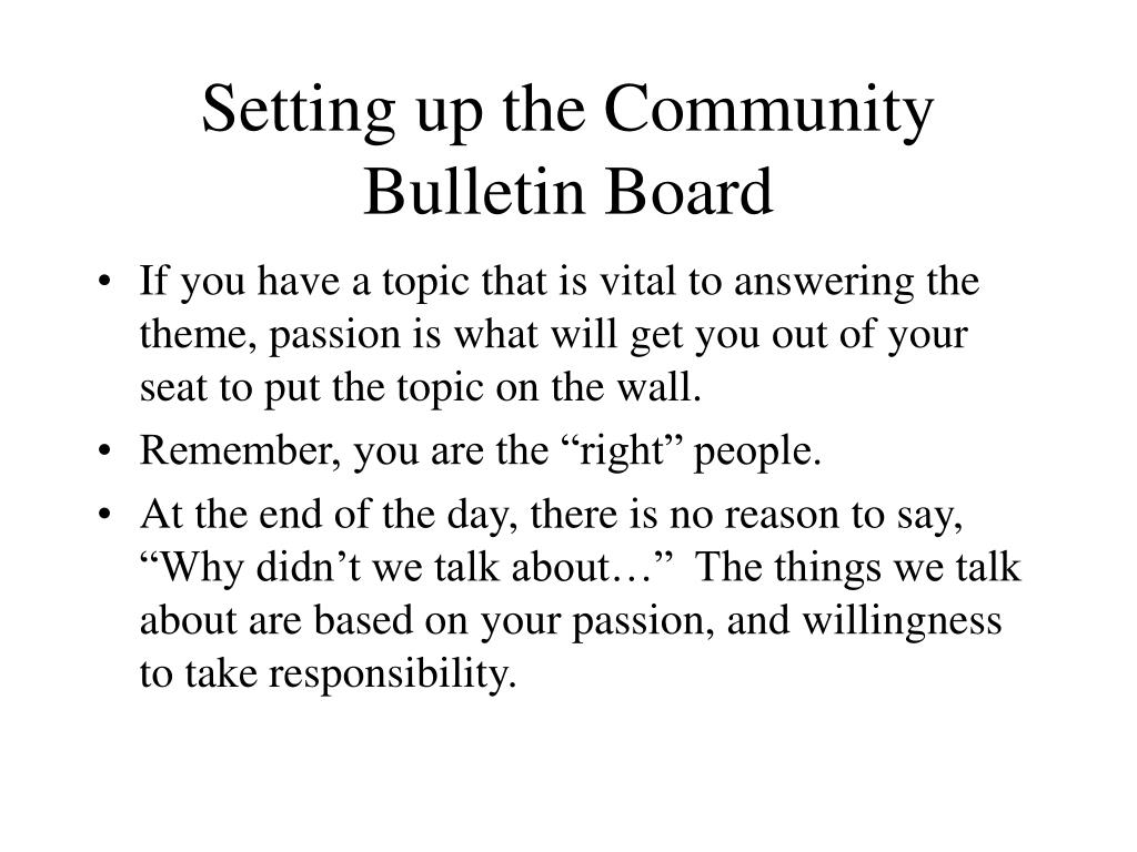 Setting up the Community Bulletin Board