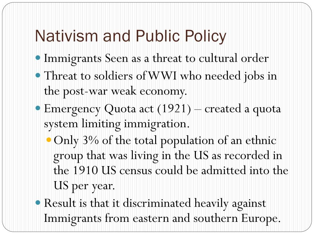 Nativism and Public Policy