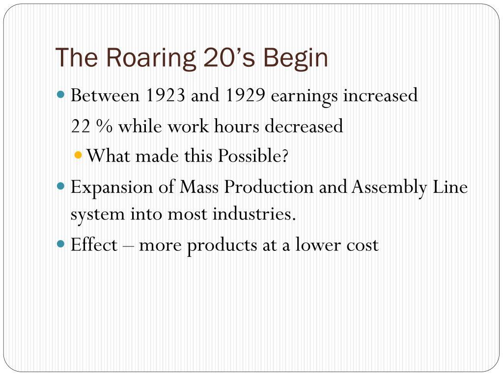 The Roaring 20's Begin