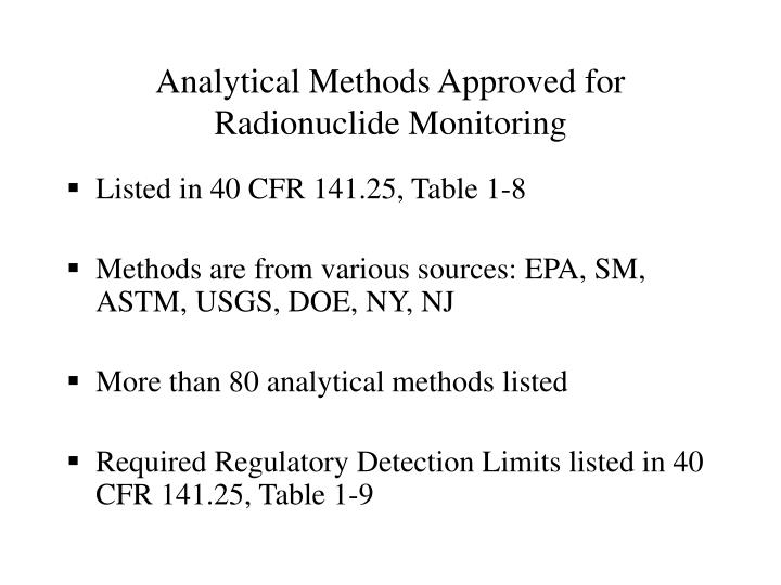 Analytical Methods Approved for Radionuclide Monitoring