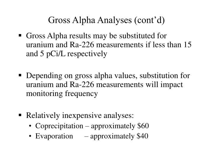 Gross Alpha Analyses (cont'd)