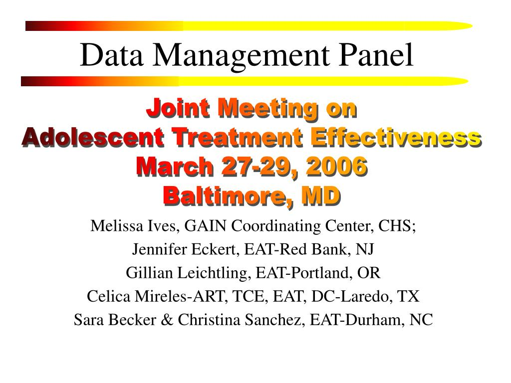 Data Management Panel