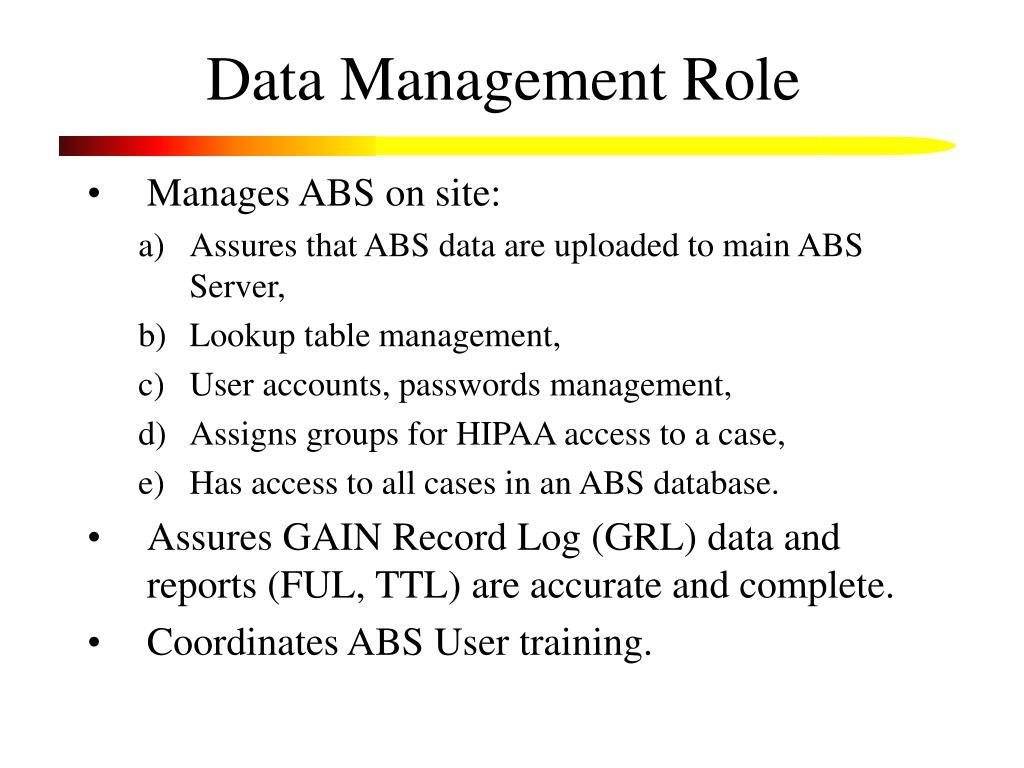 Data Management Role