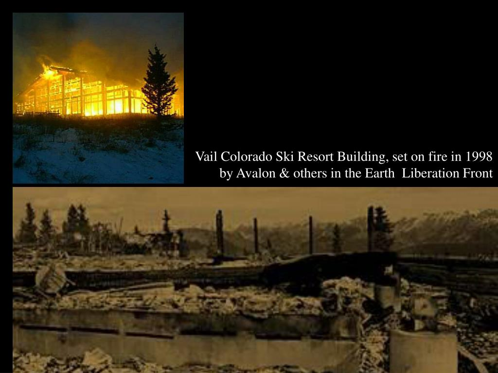 Vail Colorado Ski Resort Building, set on fire in 1998 by Avalon & others in the Earth  Liberation Front