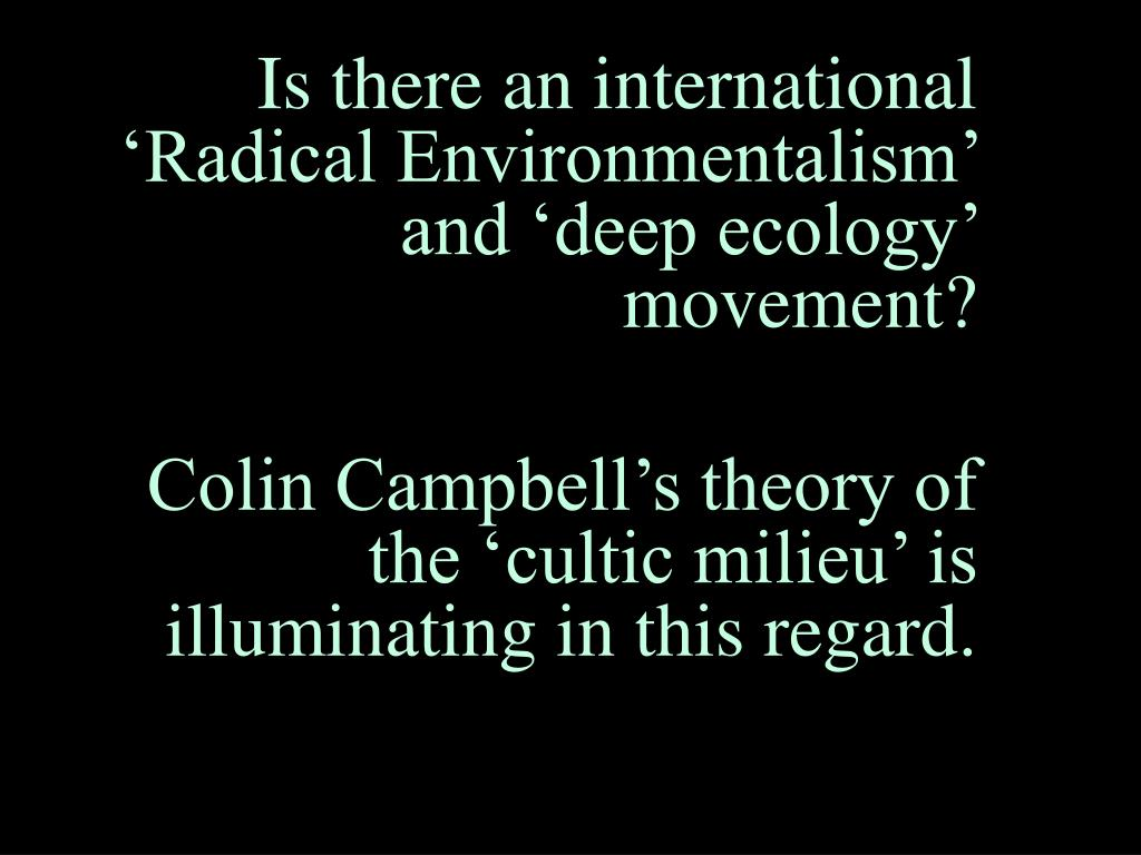 Is there an international 'Radical Environmentalism' and 'deep ecology' movement?