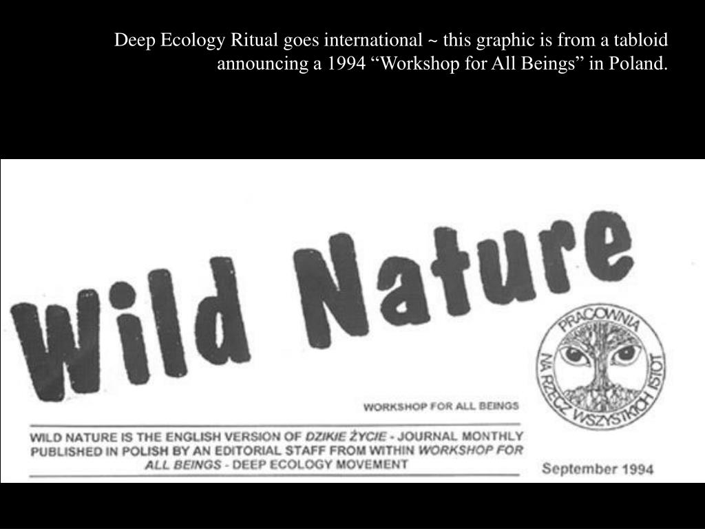 """Deep Ecology Ritual goes international ~ this graphic is from a tabloid announcing a 1994 """"Workshop for All Beings"""" in Poland."""
