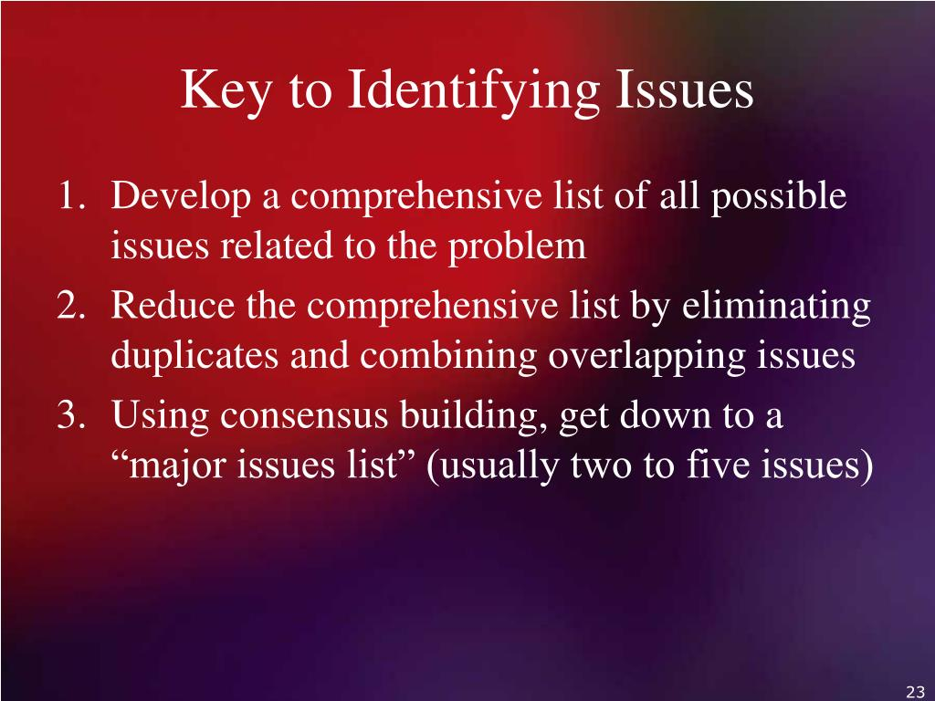 Key to Identifying Issues