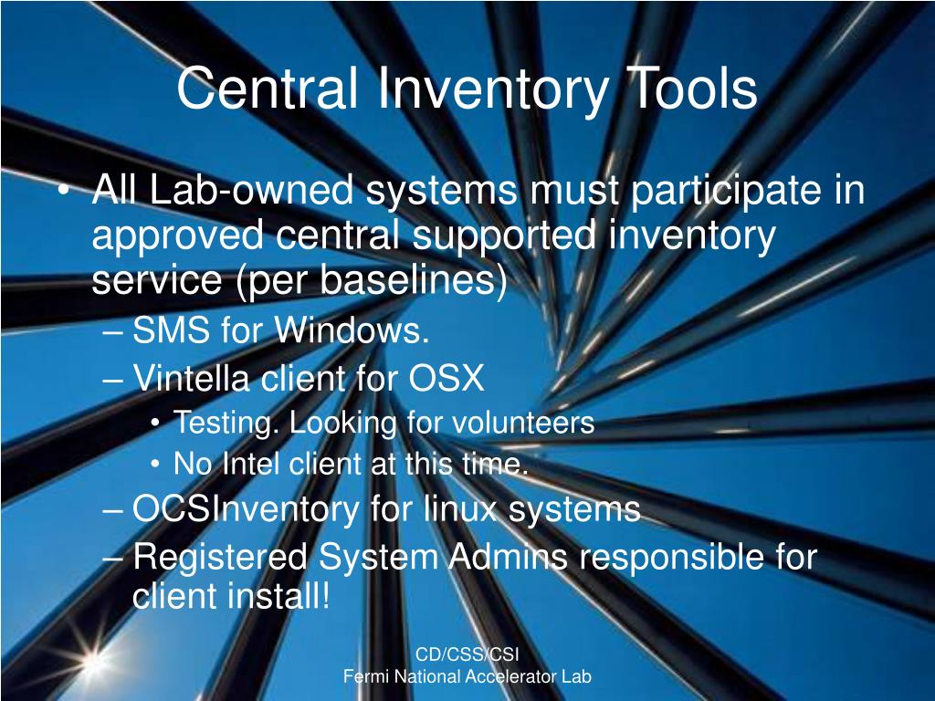 Central Inventory Tools