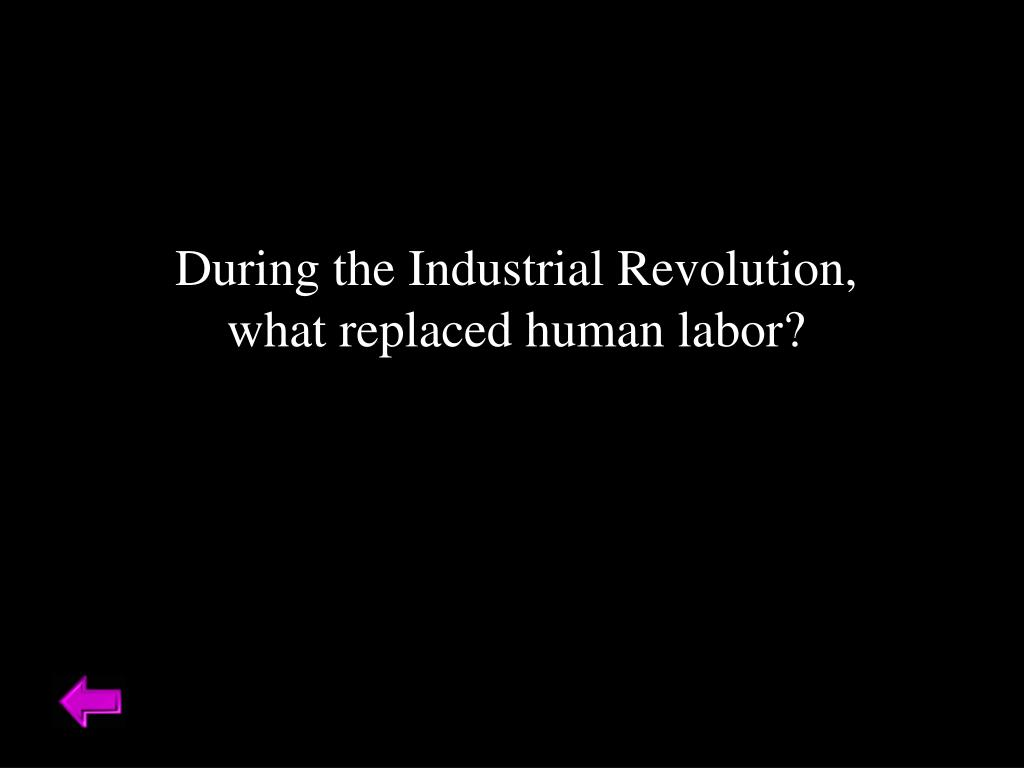 During the Industrial Revolution, what replaced human labor?
