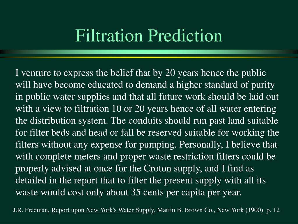 Filtration Prediction