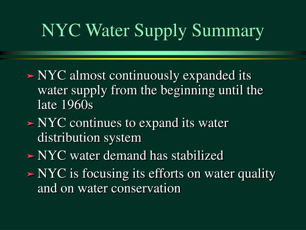 NYC Water Supply Summary