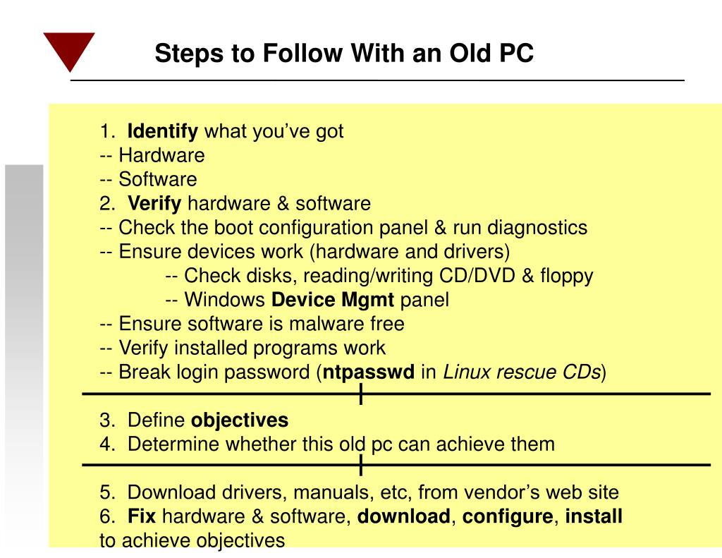 Steps to Follow With an Old PC