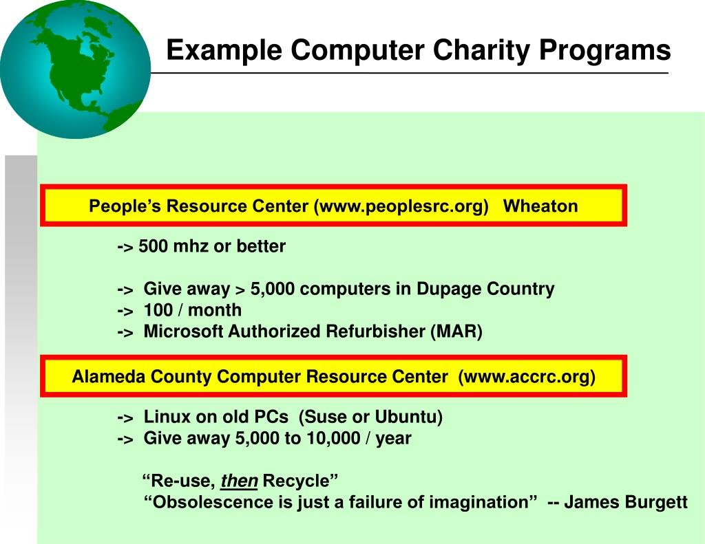 Example Computer Charity Programs