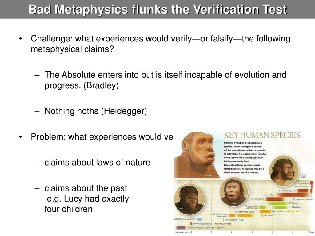 Bad Metaphysics flunks the Verification Test