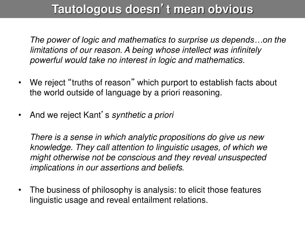 Tautologous doesn