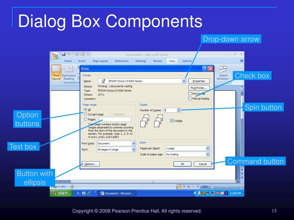 Dialog Box Components