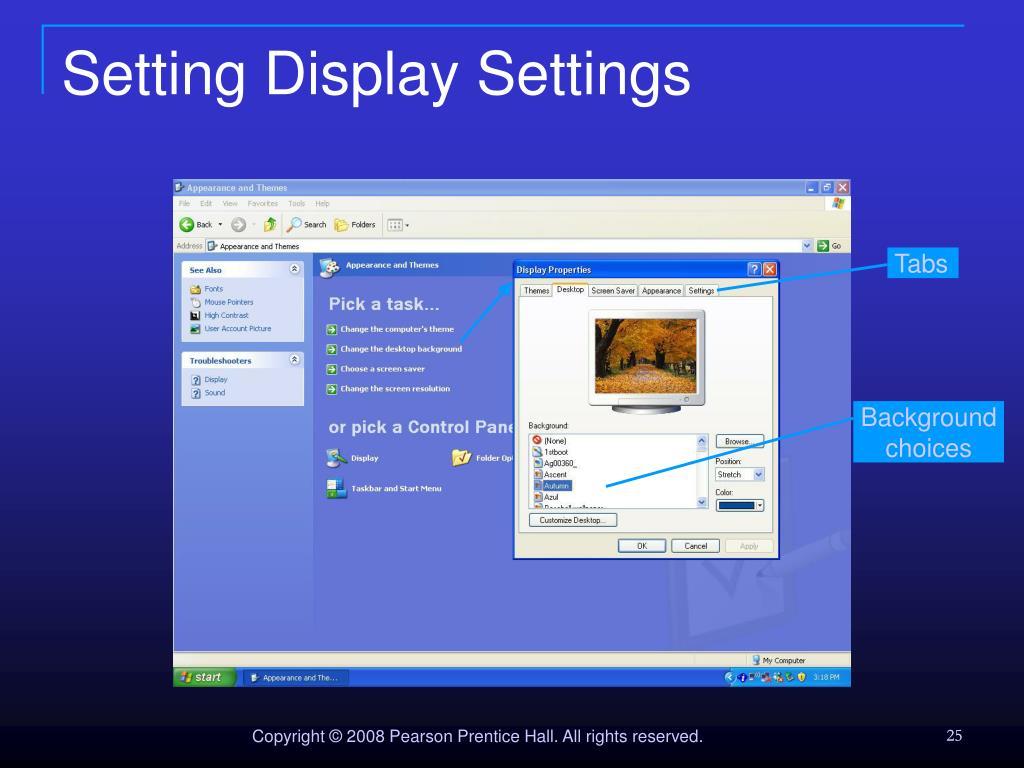 Setting Display Settings