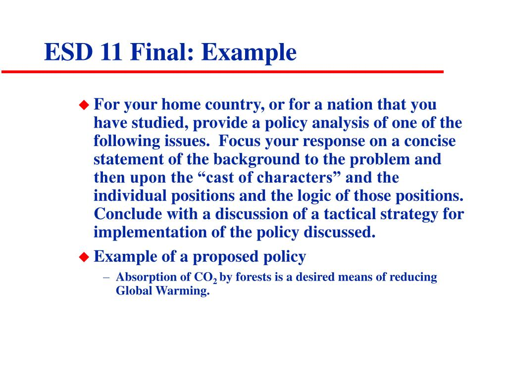 ESD 11 Final: Example