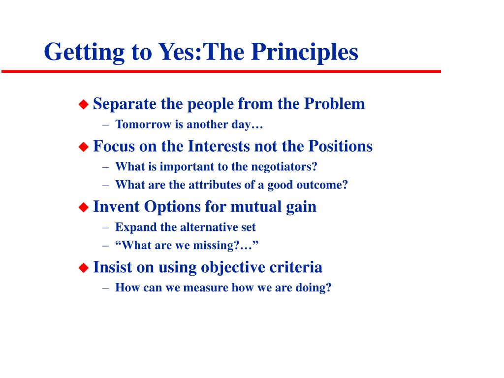 Getting to Yes:The Principles
