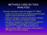 methods used in this analysis