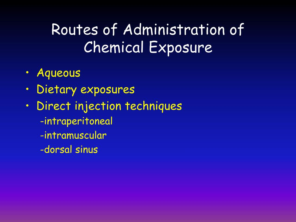 Routes of Administration of Chemical Exposure