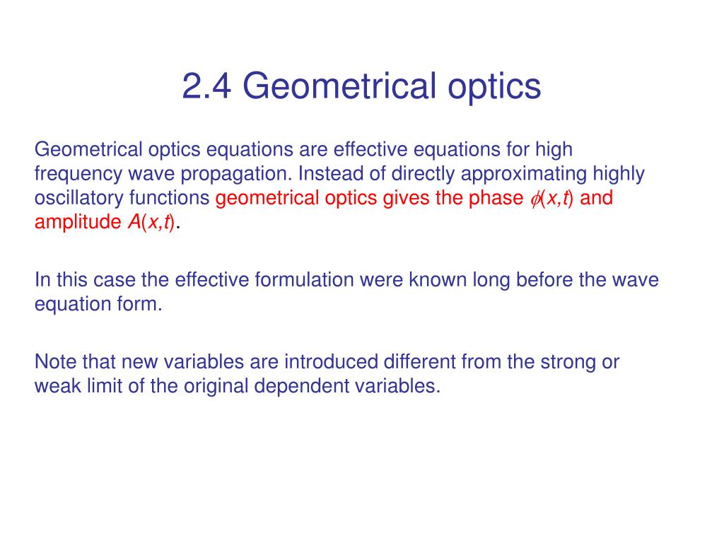 2.4 Geometrical optics