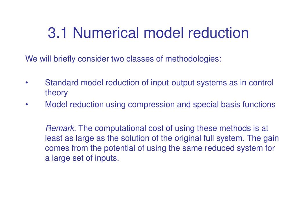 3.1 Numerical model reduction