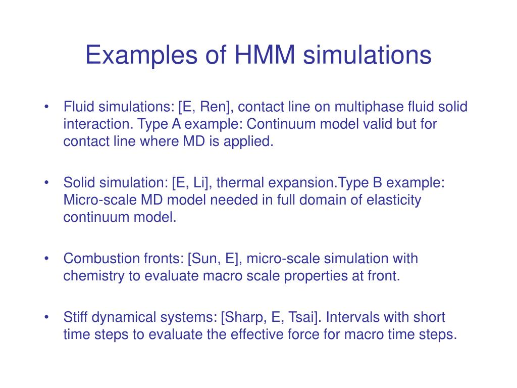 Examples of HMM simulations
