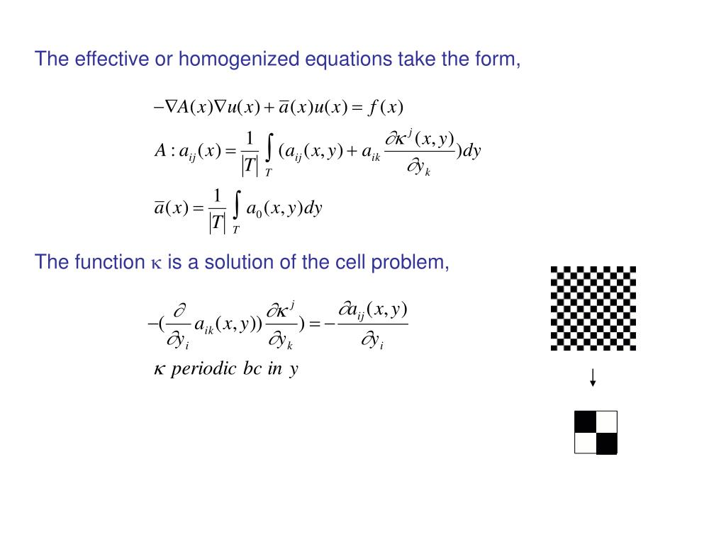 The effective or homogenized equations take the form,