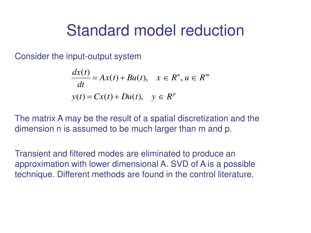 Standard model reduction