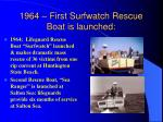 1964 first surfwatch rescue boat is launched