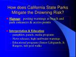 how does california state parks mitigate the drowning risk