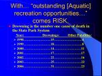 with outstanding aquatic recreation opportunities comes risk