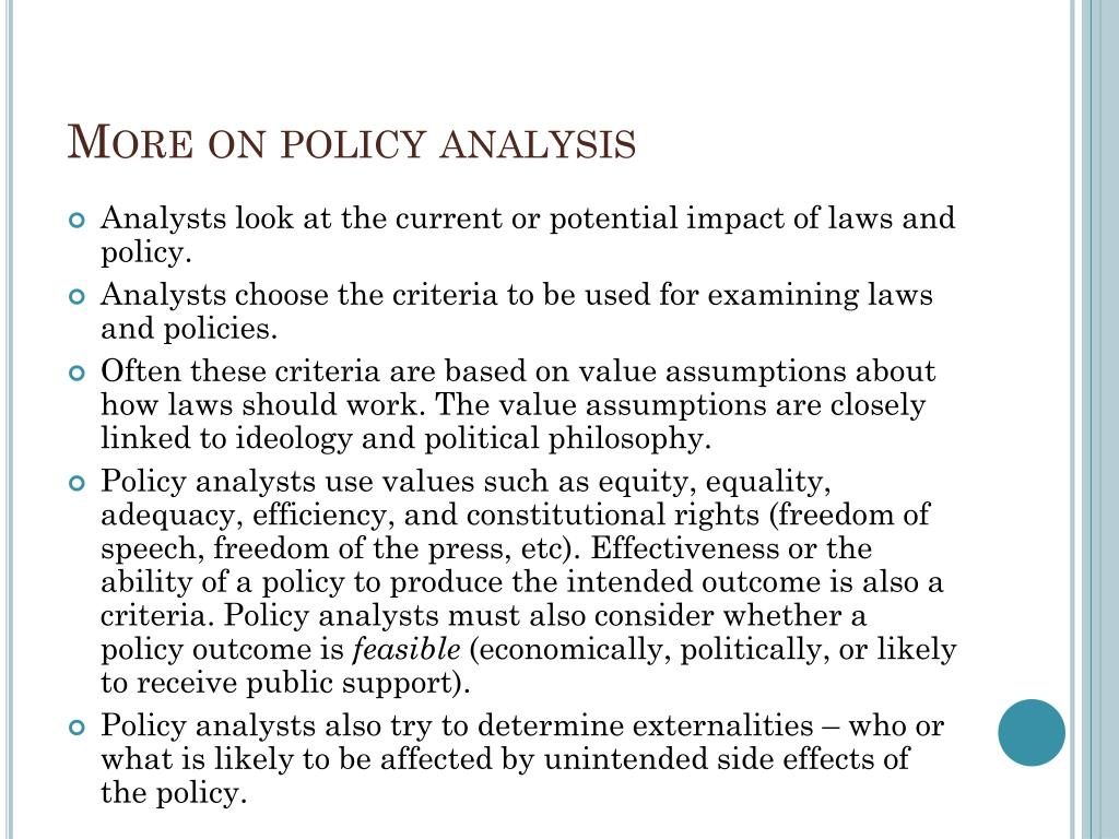 More on policy analysis