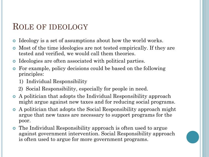 Role of ideology