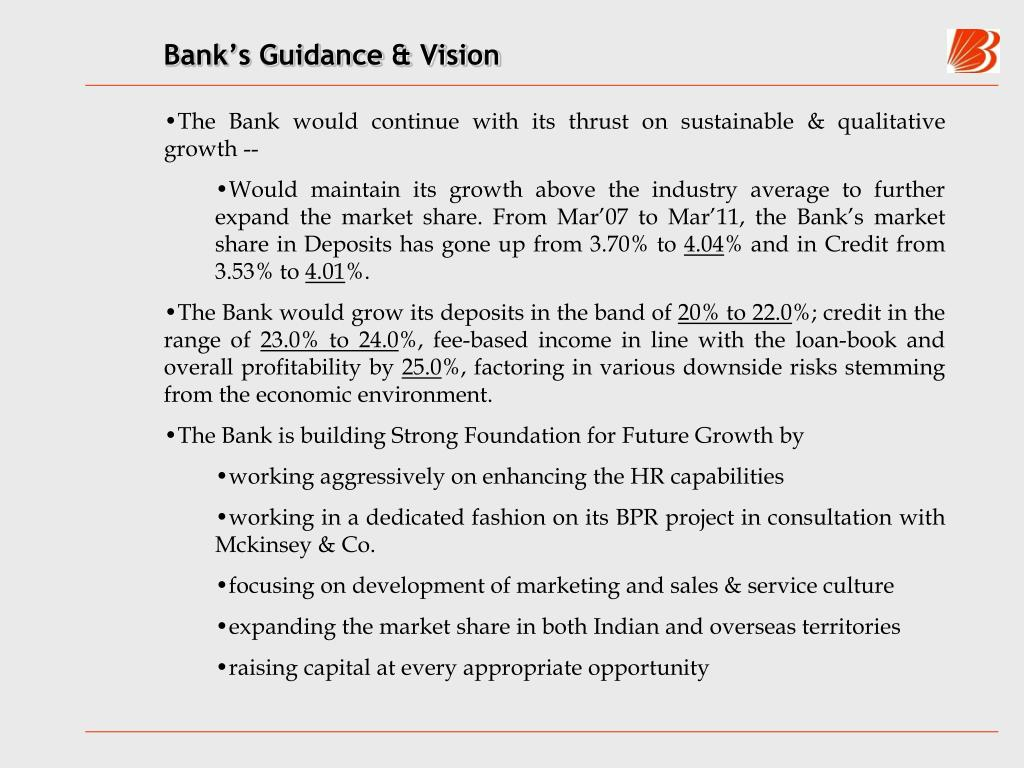 Bank's Guidance & Vision