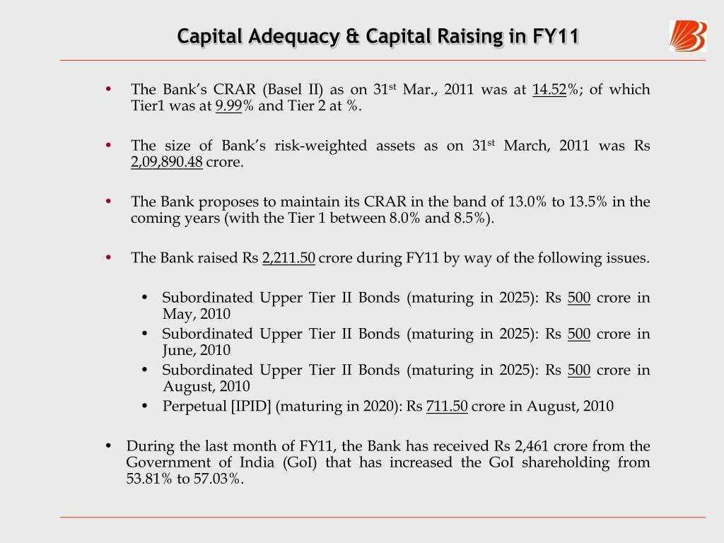 Capital Adequacy & Capital Raising in FY11