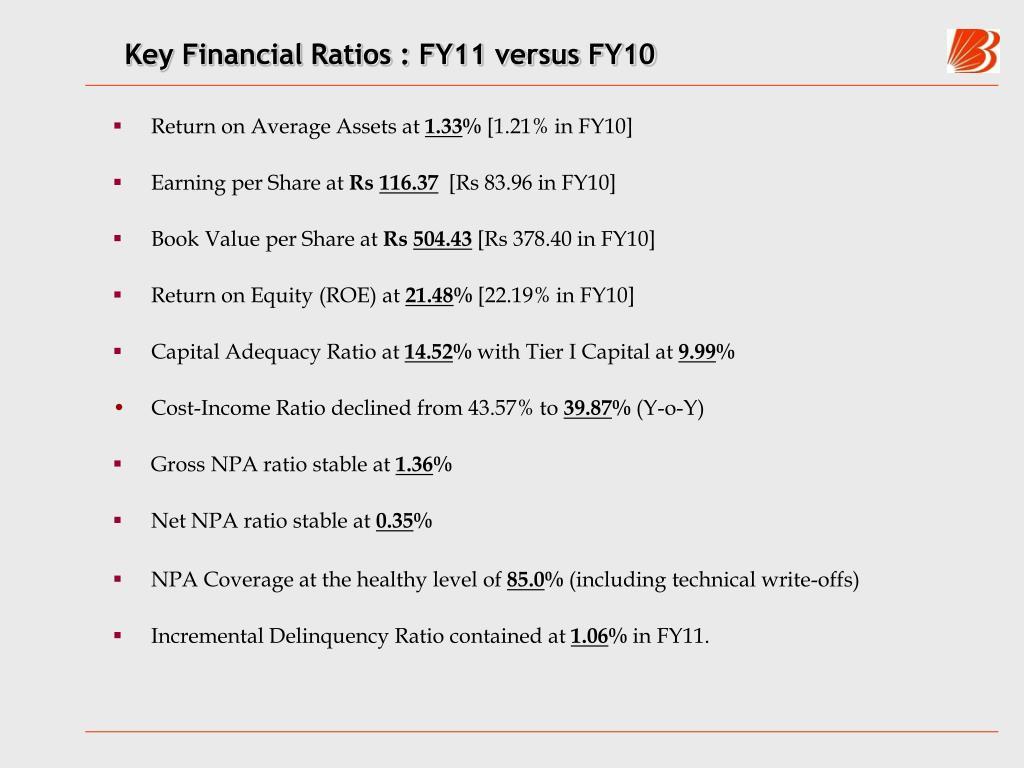 Key Financial Ratios : FY11 versus FY10