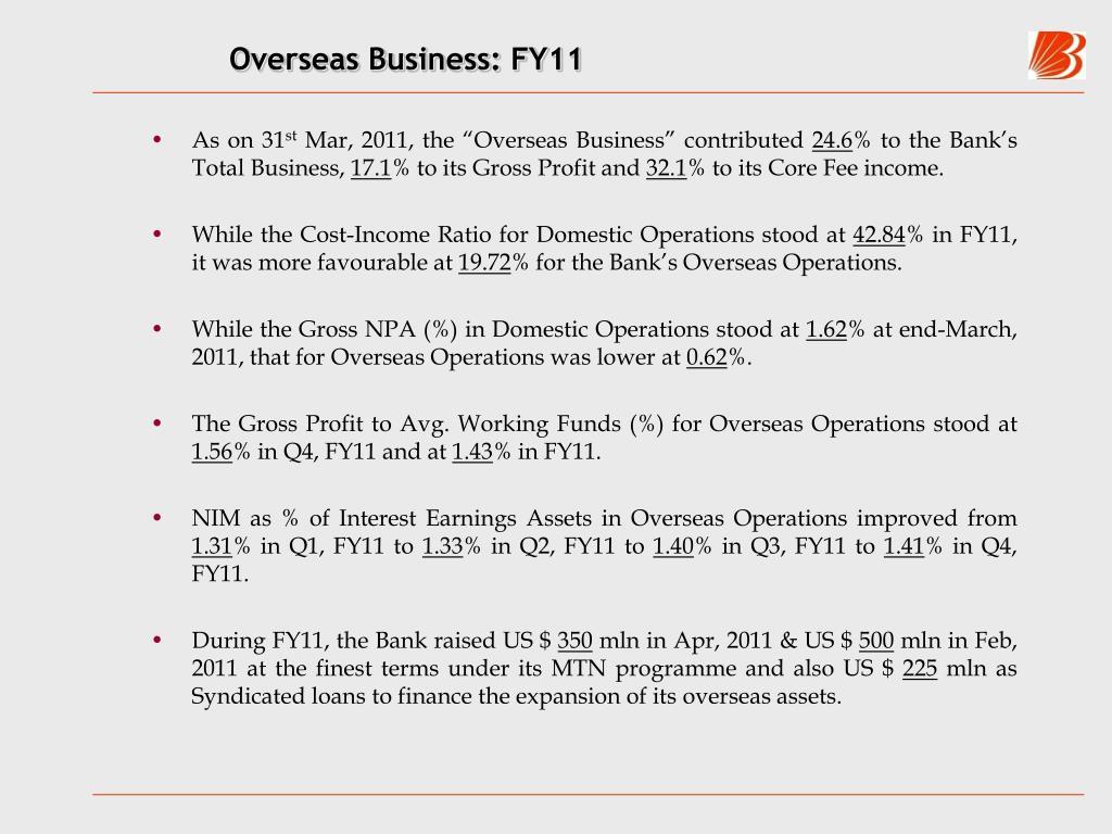 Overseas Business: FY11